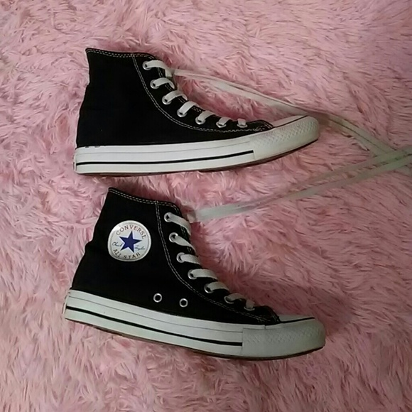 a71578c34964dc Converse Shoes - Classic black   white converse high tops size 8
